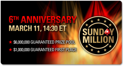 Poker Stars Celebrates 6th Anniversary of Sunday Million with $6 Million Guaranteed